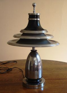 Vintage Iconic 1930s Art Deco Machine Age Moderne Table Lamp Light Edward Kent | eBay