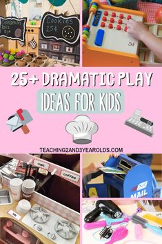 Providing dramatic play activities is a great way to engage toddlers and preschoolers in role playing. Social skills are strengthened as the children interact with one another, too! #preschool #toddlers #classroom #dramaticplay #pretend #centers #teacher #printables #earlychildhood #age2 #age3 #teaching2and3yearolds Dramatic Play Themes, Dramatic Play Area, Dramatic Play Centers, Toddler Preschool, Preschool Activities, Toddler Play, Preschool Art, Role Play Areas, Play Centre