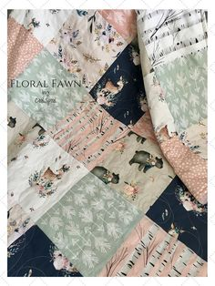 Floral Fawn Woodland Quilt, Woodland Nursery Girl, Floral Baby Bedding, Fawn Crib Bedding, Home and Living, Floral Deer Nursery, Floral Fawn. This listing is for a baby quilt. It features 3 total layers and has light to medium weight. The middle layer consists of warm and natural 100%