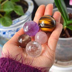 Healing Crystals Set of 5, Quartz Crystal Sphere, Amethyst Sphere, Rose Quartz Ball, Smoky, Tigers Eye Sphere, Chakra Balancing Stones