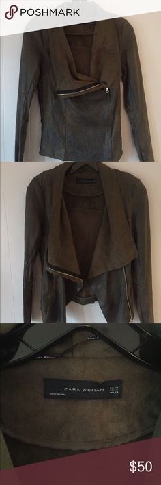 Zara Faux Leather/ Suede Jacket Size: XS. Color: Dark olive green, light gold zipper. Material: faux leather/ suede, weathered look. Side zipper look. Beautiful jacket, worn once! Purchsed 6 months ago. Jacket fits true to size. Zara Jackets & Coats