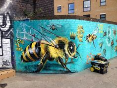 A London Street Artist Paints Swarms of Bees on Urban Walls to Raise Awareness of Colony Collapse Disorder http://www.thisiscolossal.com/2015/03/save-the-bees-mural-project/