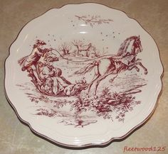 """#2 Tabletops Unlimited New England Toile Burgundy / Red Dinner Plate - 10.75""""  