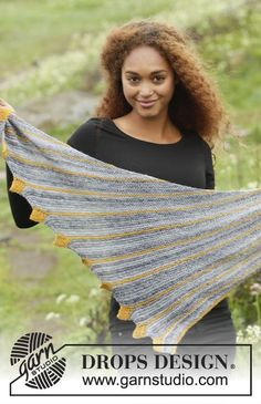 "Dragon Tail - Knitted DROPS shawl in garter st with leaves, worked sideways in ""Fabel"". - Free pattern by DROPS Design Drops Patterns, Shawl Patterns, Crochet Patterns, Knitting Paterns, Lace Knitting, Knit Or Crochet, Crochet Shawl, Dragon Tail, Drops Design"