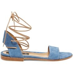 Steven by Steve Madden Women's Hammpton Sandals ($80) ❤ liked on Polyvore featuring shoes, sandals, denim sde, wide shoes, fleece-lined shoes, synthetic shoes, lace up shoes and denim shoes