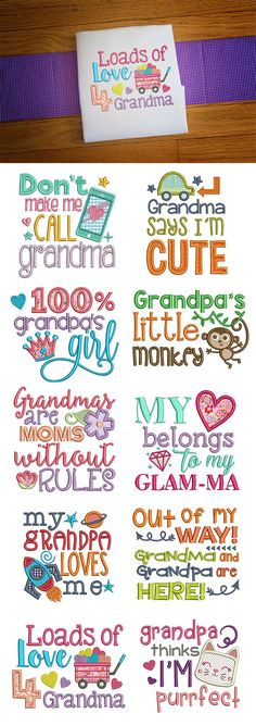 These 10 sweet sayings are perfect for all of the loving grandparents out there! Grandparents Sayings embroidery design set is available for instant download at designsbyjuju.com