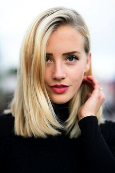 long bob, side part, rosy lips.