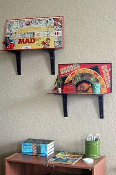 Game Boards upcycled into Shelves (+ other upcycled ideas)
