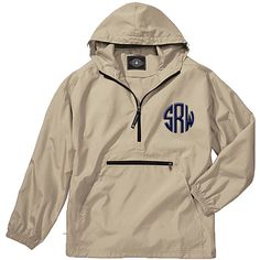 These are perfect jackets for men or women on the go! The Pack-n-Go pullover rain coats are unisex, lightweight unlined and store in the front pocket of the jacket itself for easy storage. Designed for convenience you can keep one of these pullovers anywhere for when you need it. #raincoat #windbreaker #monogrammedwindbreaker #rainjacket #packngo #personalizedjacket #monogrammedrainjacket #personalizedraincoat #lilajanes #khakiwindbreaker #menswindbreaker