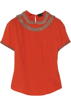 Isabel Marant Vallory embellished crepe top | THE OUTNET