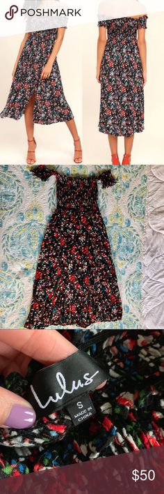 """afbaa24016 NWOT Lulu s Floral Off the Shoulder Dress """"View from the Meadow"""" black  floral print"""