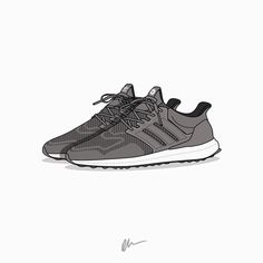 An illustrated rendition of Highsnobiety's forthcoming adidas #ultraboost featuring Highsnobiety branding and a leather cage courtesy of @kickposters #hskicks #adidasxhighsnobiety by highsnobiety