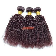 3Pcs/lot 10''-28''Malaysian Virgin Hair Extension Kinky Curly #99J Burgundy 300g #Beautyplus #HairExtension