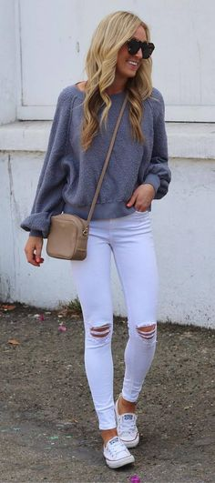 fall+outfit+of+the+day+/+grey+sweatshirt+++bag+++rips+++sneakers
