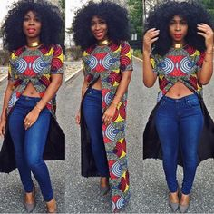 Are you looking for some stylish and trendy ankara tops to wear with Jeans? Then this post will help you in looking for the perfect African print to buy or… African Inspired Fashion, African Print Fashion, Africa Fashion, Fashion Prints, African Attire, African Wear, African Women, African Style, African Print Dresses
