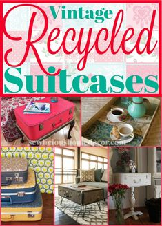 Suitcases DIY Furniture and Storage Ideas {Vintage Recycled Suitcases} DIY Furniture and Storage Ideas. {Vintage Recycled Suitcases} DIY Furniture and Storage Ideas. Recycling, Diy Recycle, Recycle Jeans, Vintage Suitcases, Vintage Luggage, Best Friend Christmas Gifts, Unique Graduation Gifts, Decor Crafts, Diy Crafts