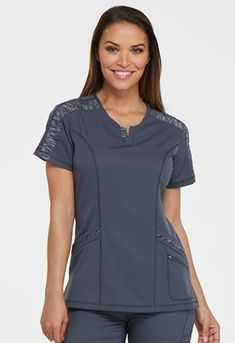 Jockey Scrubs tops at Kohl's - This women's Jockey Scrubs short-sleeved top features a cell phone pocket with a hidden zipper, vented hems and a soft woven construction with two-way stretch. Shop our full selection of women's work attire at Kohl's. Work Attire Women, Tunics Online, Womens Scrubs, Medical Scrubs, Scrub Tops, V Neck Tops, Plus Size Women, Caregiver, Medical Uniforms
