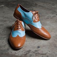 Oxford Shoes Mens Tan Blue by goodbye folk