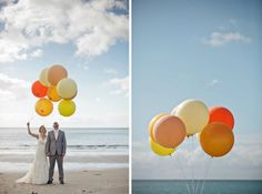 On the beach with giant balloons as props.