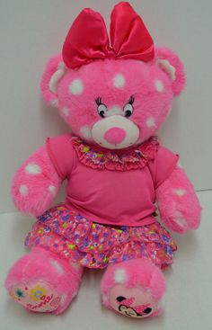 """Build A Bear #MinnieMouse Pink Limited Edition Teddy Bear Top & Skirt 16"""" #AllOccasion"""