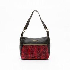 Bolso de hombro cuero Rojo y negro 10 x 6 x 3 cm