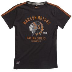 Warson Motors Racing Chiefs Black T-Shirt Cotton Featuring our iconic Racing Chiefs logo Vintage Clothing Online, Online Clothing Stores, Vintage Band T Shirts, Chiefs Logo, Race Wear, Races Outfit, Vintage Leather Jacket, Online Sales, Tshirts Online