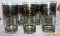 MCM Cera Set of 7 Highball Tumbler Green Gold Grecian Grapes Leaves Signed