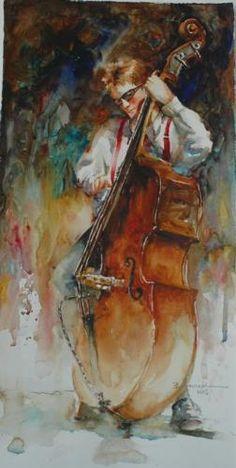 Bass Man- artist Bev Jozwiak, watercolor