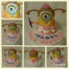 "Princess Minion Cake #ChocolateDevilishCake #Minion #DespicableMe #PrincessMinion #Pink #FakeEyeLash #NoveltyCake #3DCake #InstaCake   ""Happy Birthday Isabel! ""  #ximiCake #BakedByPriscillia #BakedByPeien  www.Facebook.com/ximicake"