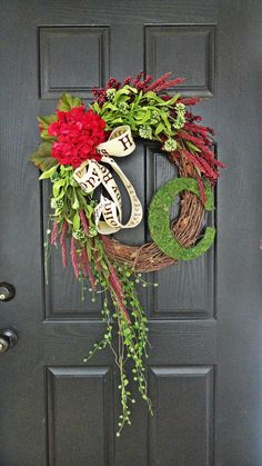 "The ""Grand"" Christmas Wreath,  Smaller Version, Wreath in Red and Green, French Country Wreath, Moss, Burlap and Hydrangeas on Etsy, $69.00"