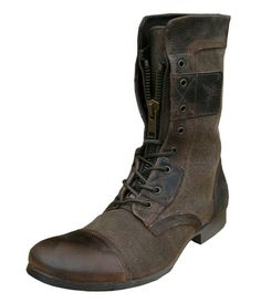 Henleys Sakura Men's Leather/Textile Vintage Fashion Casual Boots brown #Henleys #Fashion