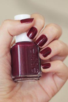 Essie - Bahama Mama - my favorite nail polish for fall and winter. The perfect dark plum! Essie Gel, Essie Nail Polish, Nail Polish Colors, Nail Manicure, Manicures, Colorful Nail Designs, Nail Art Designs, Cute Nails, Pretty Nails