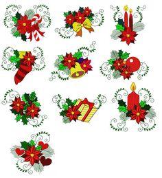 Set of 10 Christmas poinsettias flowers machine embroidery design Poinsettia Flower, Christmas Poinsettia, Christmas Flowers, Christmas Art, Sewing Machine Embroidery, Embroidery Applique, Embroidery Patterns, Fleur Design, Quilling Patterns