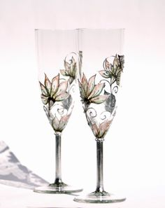 Set of 2 Toasting Champagne Flutes Hand painted Silver, Mint, Blush coral,Brown pastel tones. $54.90, via Etsy.