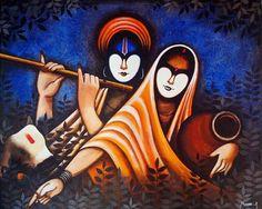 Buy Radha Krishan Painting at Lowest Price by Harpreet Kaur Simple Canvas Paintings, Easy Canvas Art, Acrylic Painting Canvas, Easy Acrylic Paintings, Canvas Draw, Abstract Canvas Art, Abstract Watercolor, Painting Tips, Painting Art