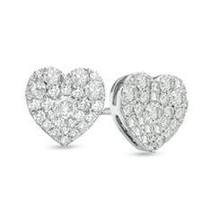 1/2 CT. T.W. Diamond Heart-Shaped Cluster Stud Earrings in 10K White Gold