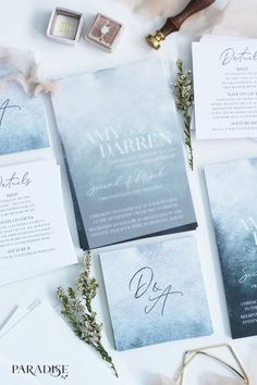 Rustic elegant dusty blue watercolor wedding invitations for summer beach weddings, wedding stationery ideas to blow your mind, cheap wedding invitations, custom wedding invitations, Cheap Wedding Invitations, Diy Invitations, Wedding Invitation Sets, Wedding Stationary, Calligraphy Invitations, Wedding Envelopes, Invitation Kits, Invitation Paper, Invitation Wording