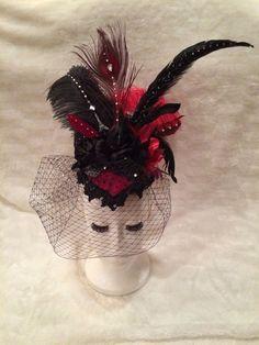 #BlackAndBurgundy #PolkaDot #Crystal #FascinatorHat. #Burlesque #Cabaret #Vintage #Hat #EmpireMiniTopHats #clipon