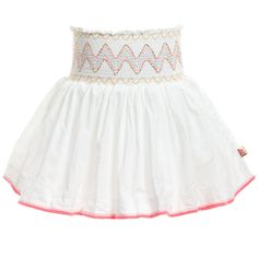 Billieblush White Flared Skirt with Smocked Waistband at Childrensalon.com