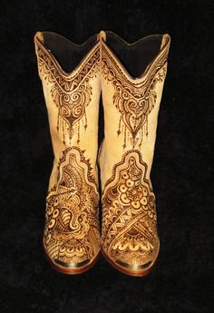 STOMP - Ladies Leather Cowboy Boots with burned henna mehndi design size 7.5