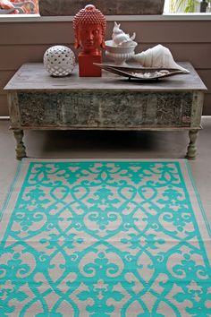 Fab Habitat Recycled Plastic Rug - Indoor / Outdoor: Venice - Cream & Turquoise.