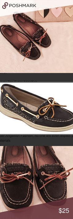 Sperry Top-Sider Angelfish in Black / Boucle Sperry Angelfish style boat shoes in black / boucle. Gold accents with black pattern sides. Good used condition- there are some scuffs and signs of wear as pictured but have plenty of life left in them! Second picture is a stock photo (if you couldn't tell 😝) Sperry Top-Sider Shoes Flats & Loafers