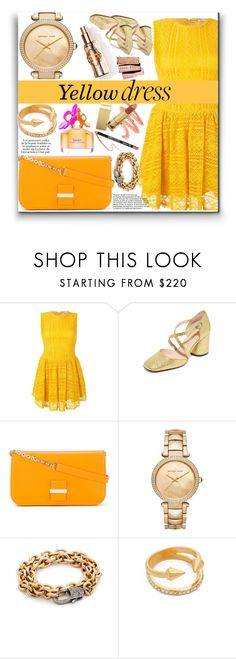 """""""Yellow Dress!!"""" by stylediva20 ❤ liked on Polyvore featuring RED Valentino, Marc Jacobs, See by Chloé, MICHAEL Michael Kors, Vita Fede and KAROLINA"""