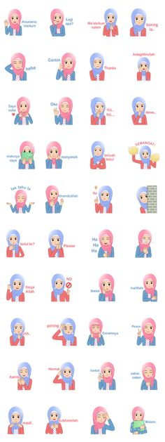 Hi Hijabers! Let& be a cheerful, lovely, and cute hijaber with this sticker set. I LOVE HIJAB! Islam Women, Cartoon Jokes, Line Store, Line Sticker, Galaxy Wallpaper, Doodles, Stickers, Love, Muslim