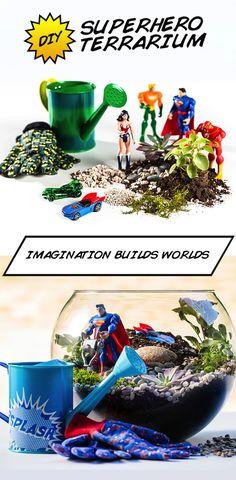 Help your kids create a superhero world with this easy DIY terrarium