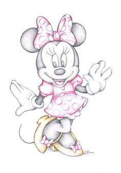 Disney Cartoon Drawings | Disney Cartoon Colour Pencil Drawing Drawing - Minnie Mouse Disney ...