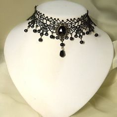 Lace Rhinestone Collar Necklace by pooqDESIGN on Etsy, $14.00