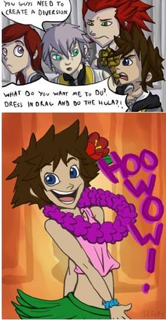 The Lion King - Kingdom Hearts. As in the Lion King, it's the difference in Sora's two expressions that really make the joke.