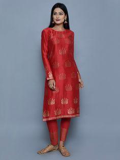 Red Chanderi Block Printed Kurta