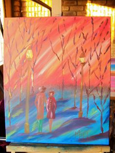 This painting is done during a Beginner Level class that lasts 2 hours. Auction, Joy, Creative, Painting, Artists, Winter, Design, Winter Time, Glee